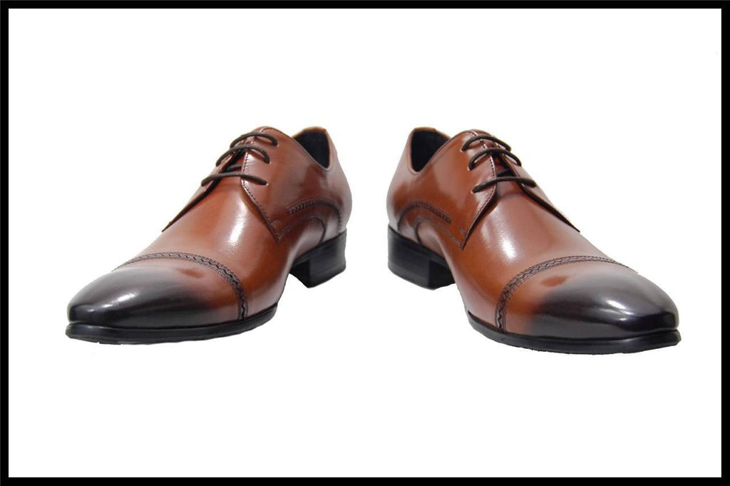 Fiesso Lace up  Brogue Leather Cap toe Dress Shoes FI 3145