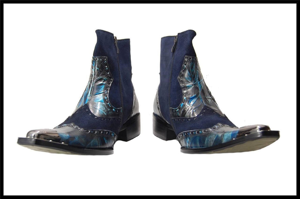 Fiesso Zip Up Marble Leather Dress Boots