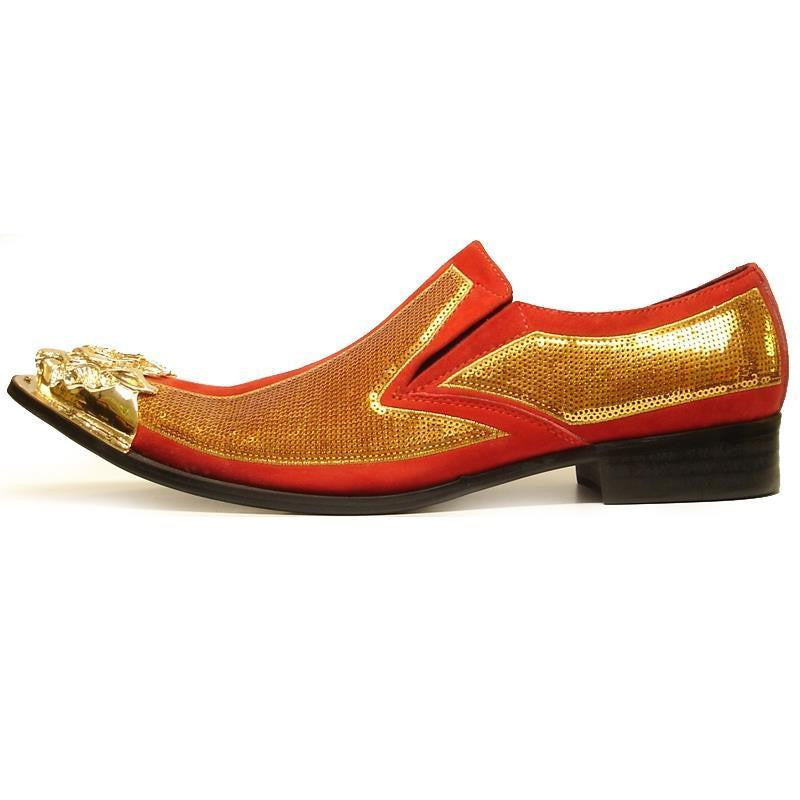 Men's Fiesso Gold/Red Leather Suede Pointed Toe Shoes FI 6983