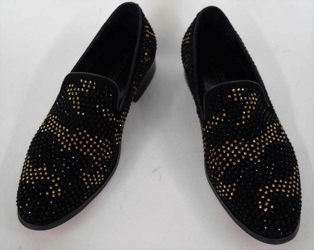 Men's Fiesso Black Suede Gold Shoes