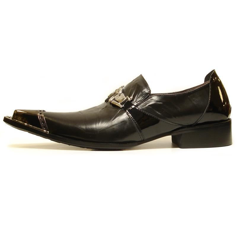 New Men's Fiesso Black Patent Dress Shoes with Buckle FI 6729