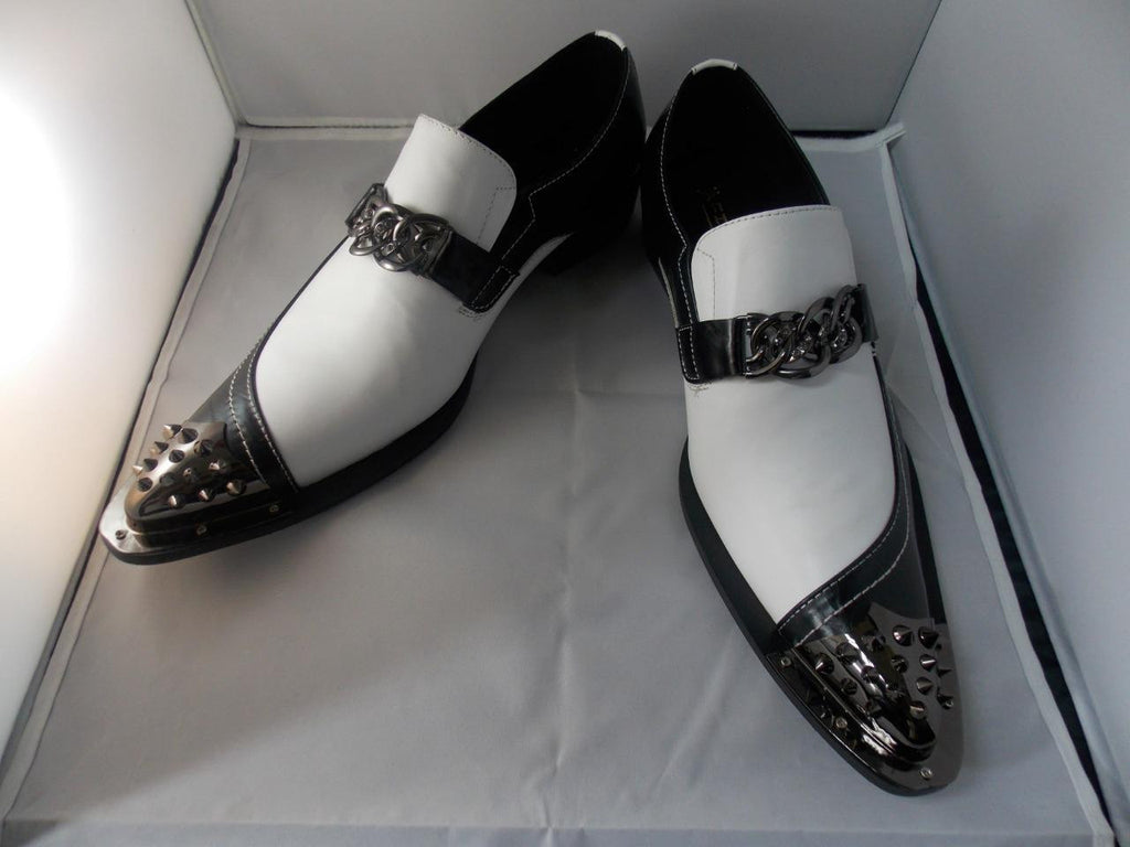 New Men's Fiesso Black/White Pointed Shoes with Spikes FI 6827