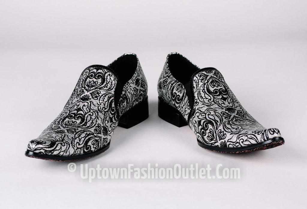 New Men's Fiesso Silver Black Artistic Dress Shoes FI 6775