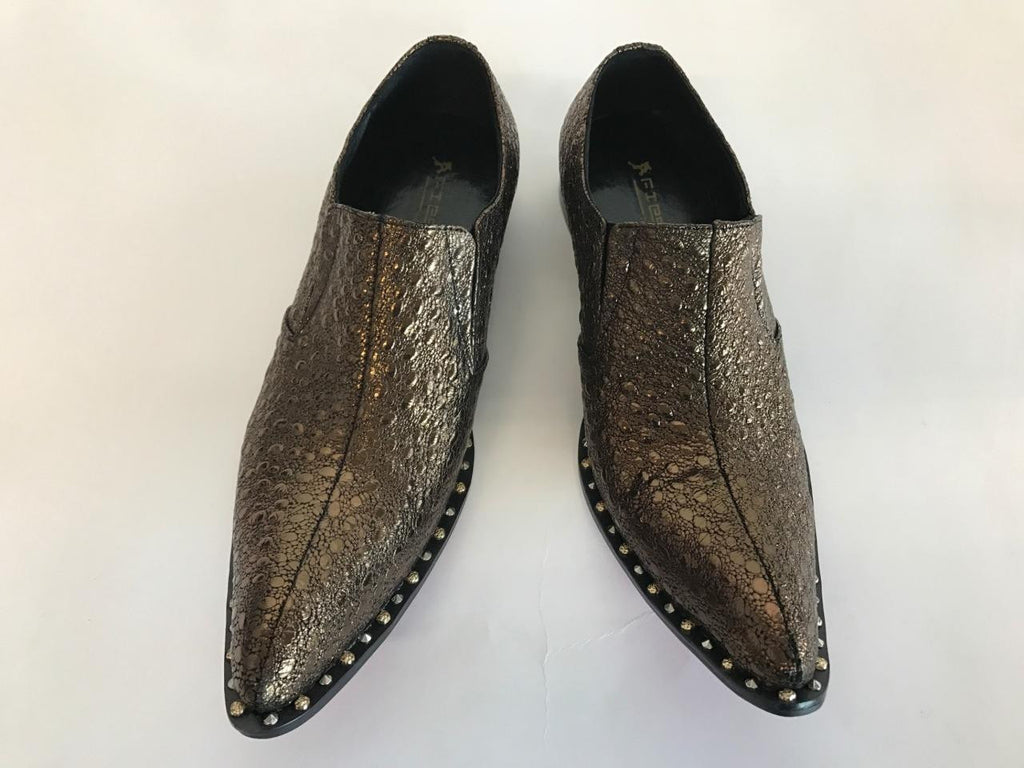 Men's Fiesso Gunmetal Snake Print Dress Shoes FI 7009