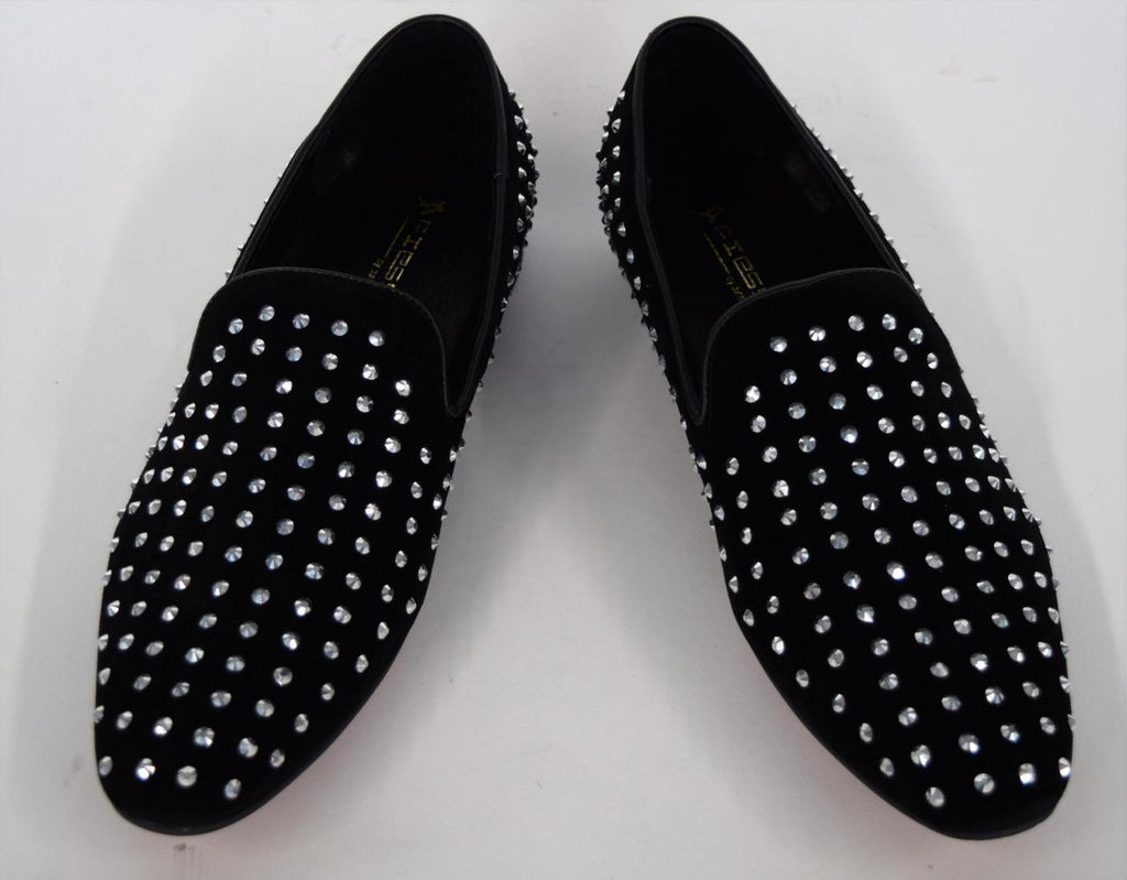 Men's Fiesso Black Suede with Clear Crystals Rhinestones Slip On Shoes