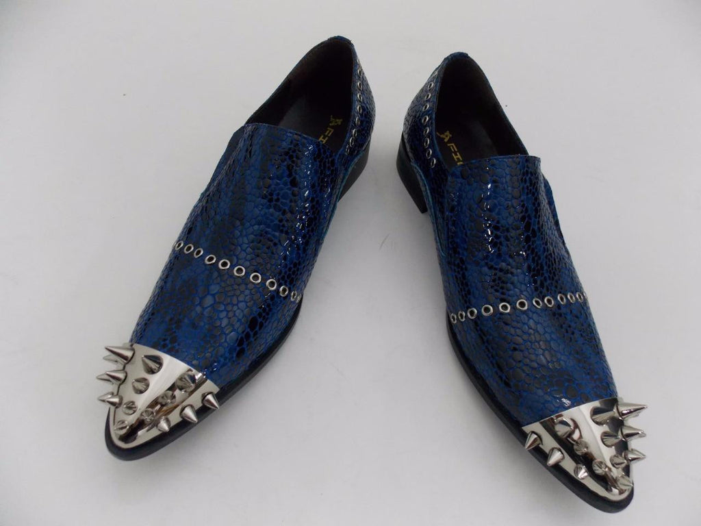 Men's Fiesso Blue Patent Snake Leather Pointed Toe Shoes