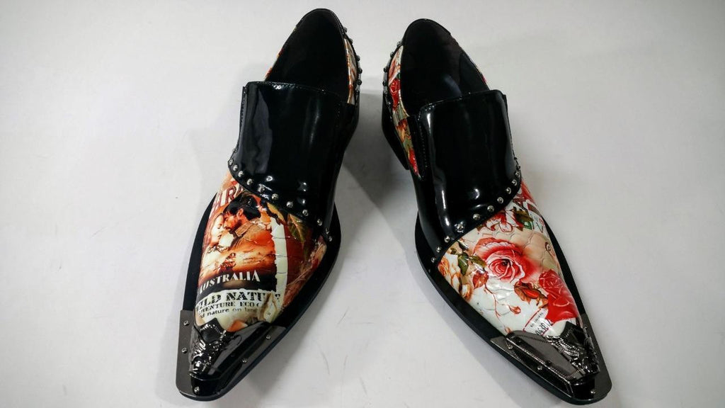 Men's New Fiesso Black Red Floral Print Slip on Shoes FI 6864