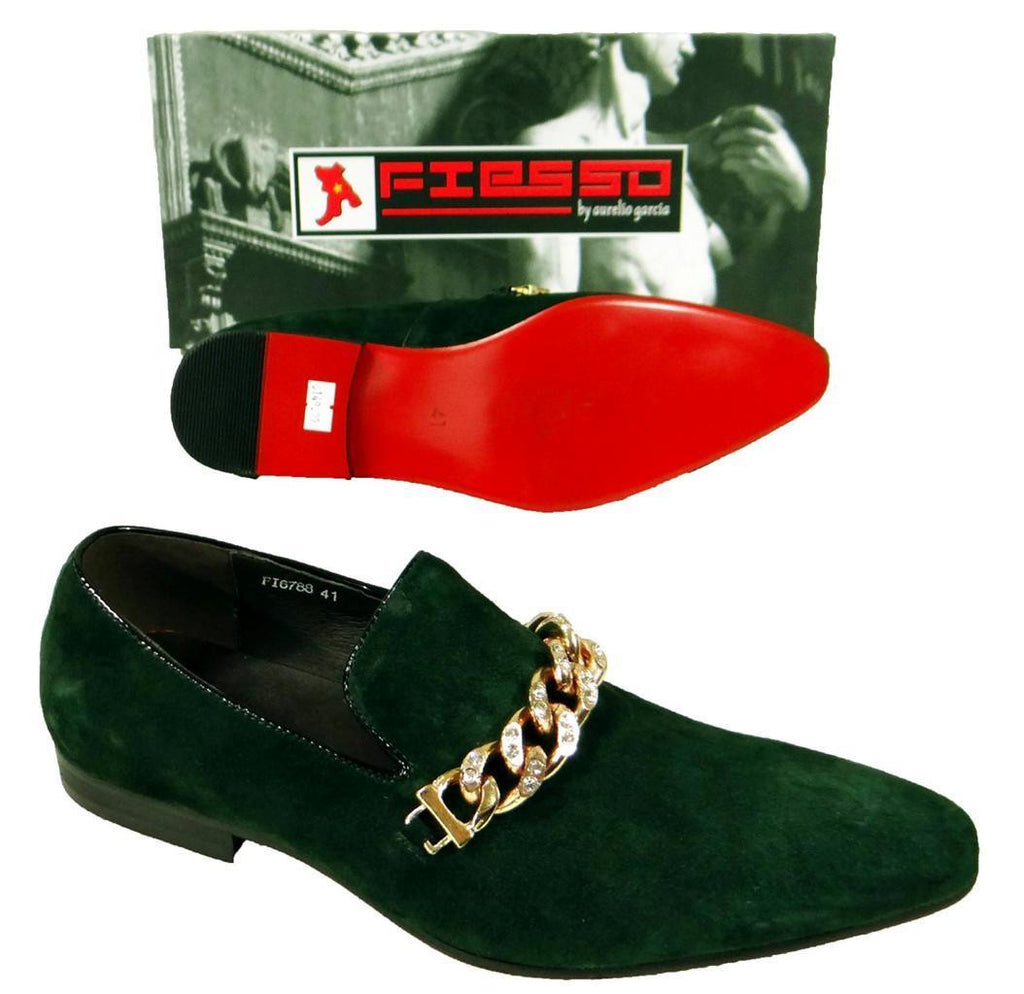 Men's New Fiesso Green Suede Slip on Shoes FI 6788