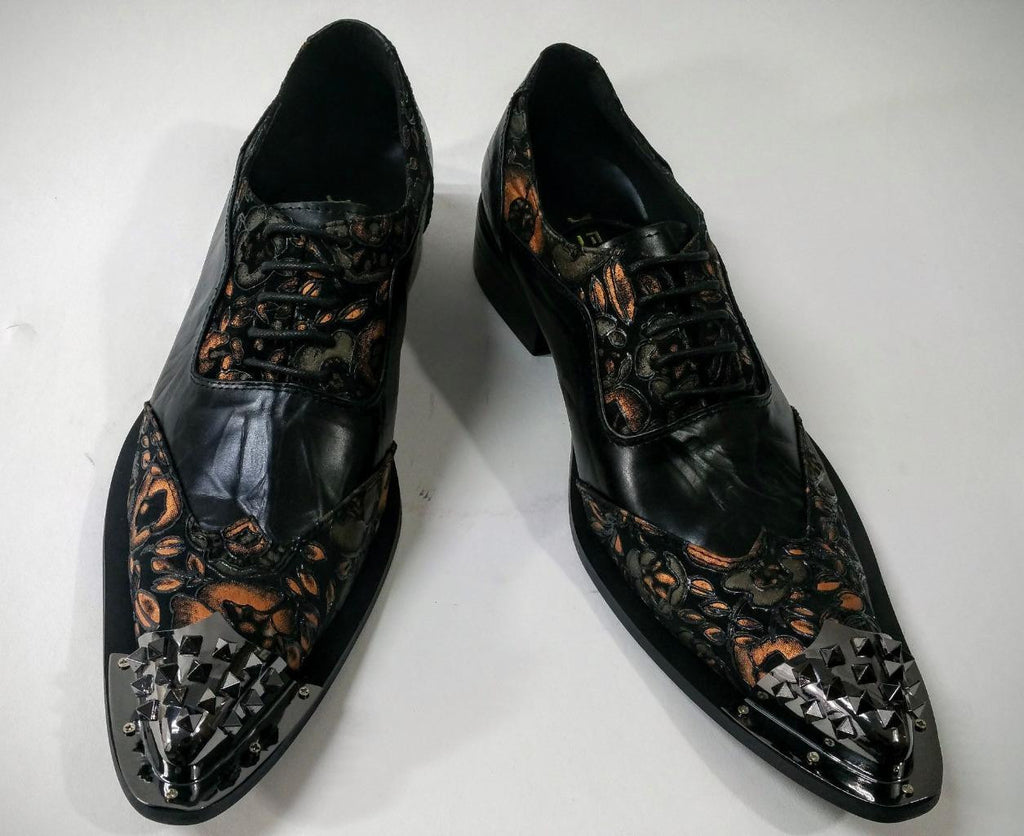 Fiesso Men's Black Floral Leather Dress Shoes