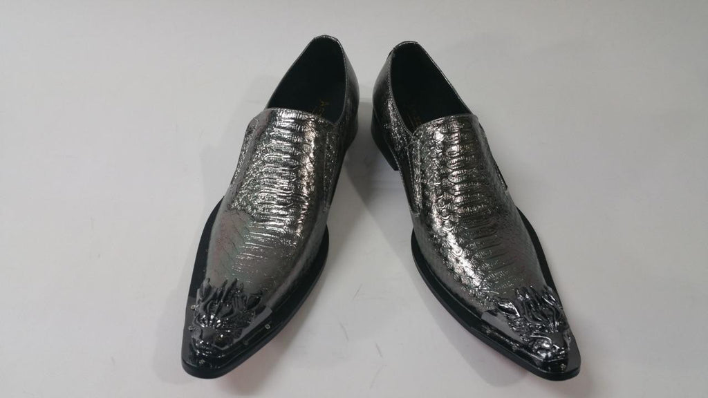 Men's New Fiesso Silver Snake Slip on Shoes FI 6909