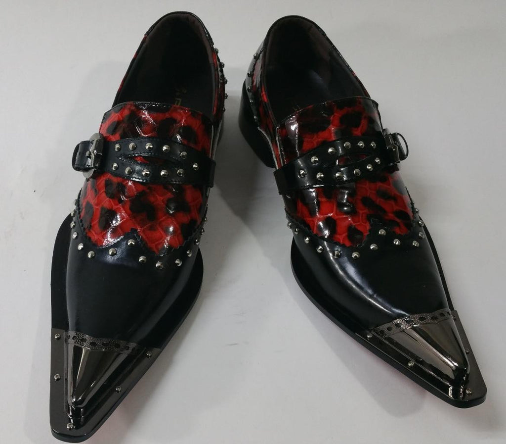 New Men's Fiesso Black Red Shoes FI 6933