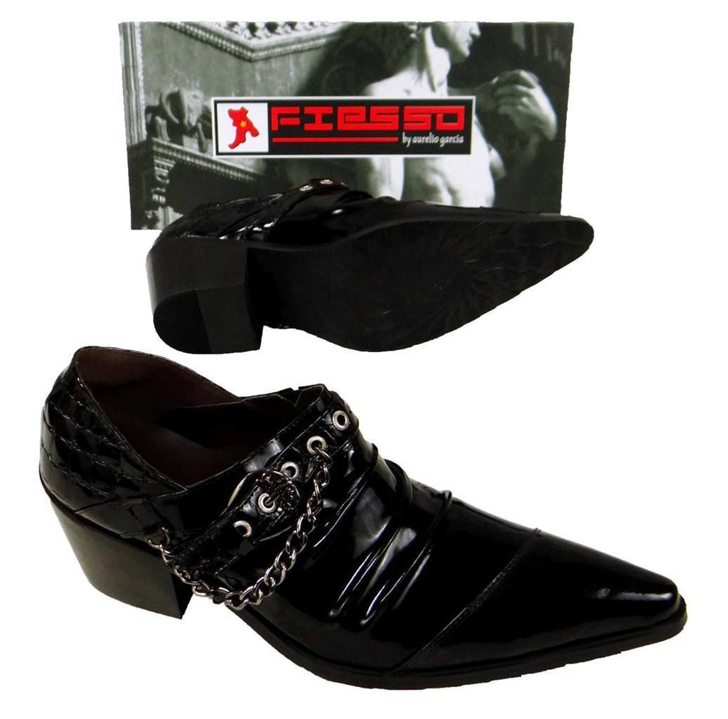 New Fiesso New Pointed Black Patent Leather Shoes FI 6786