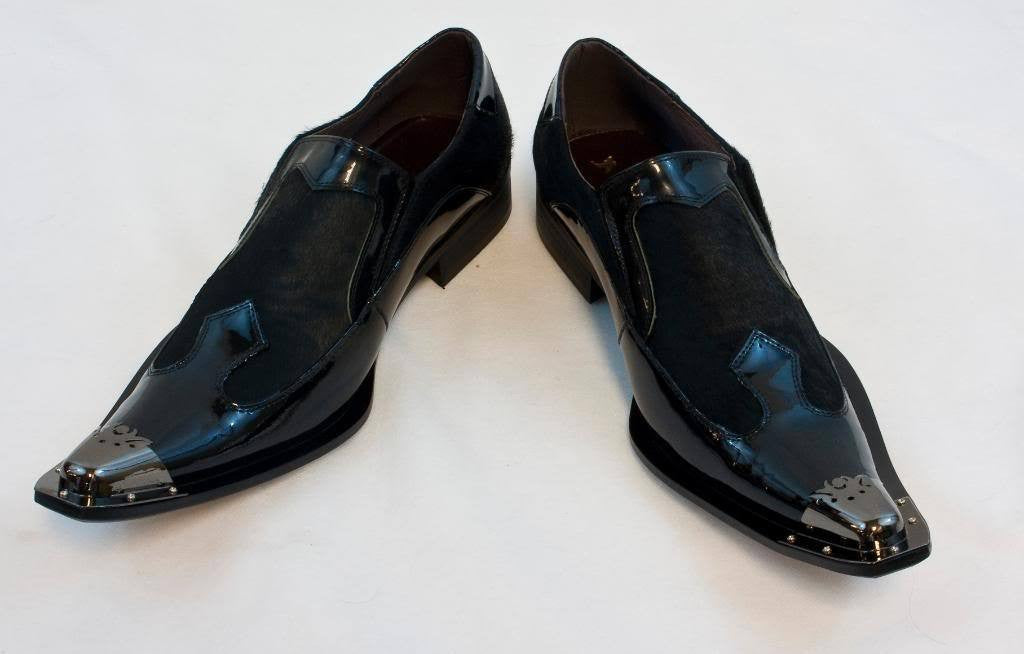 New Fiesso Slip on Dress Shoes Patent Leather Black Pony Hair FI 6644