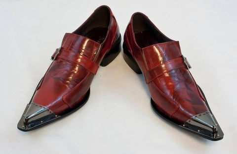 New Fiesso Dress Shoes Red with Decorative Metal Tips FI 6053