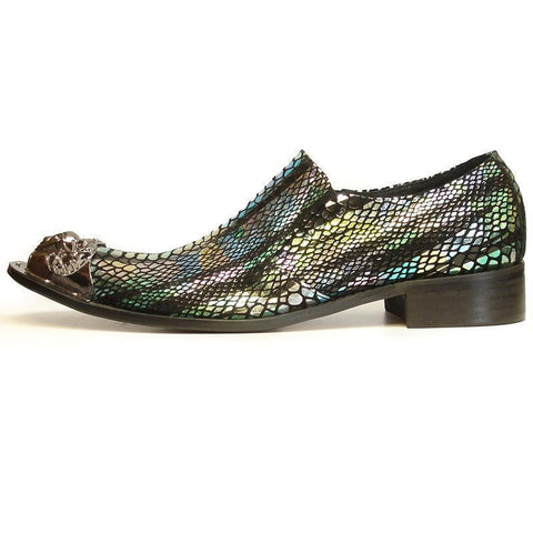 New Men's Fiesso Blue Green Snake Print Shoes FI 6951