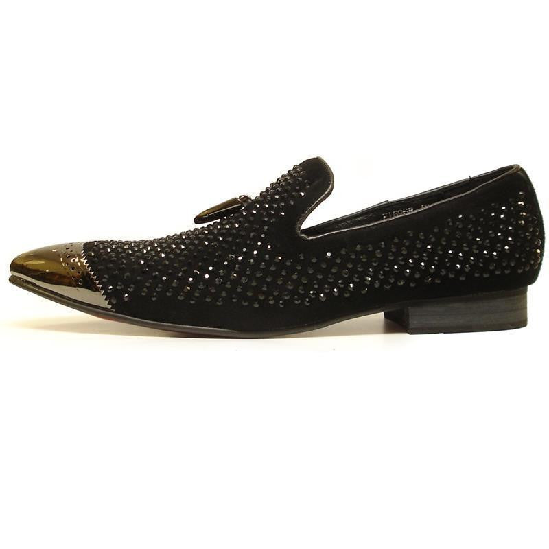 Fiesso Black Suede With Black Crystals and Metal Tip Slip-on Shoe FI 6968