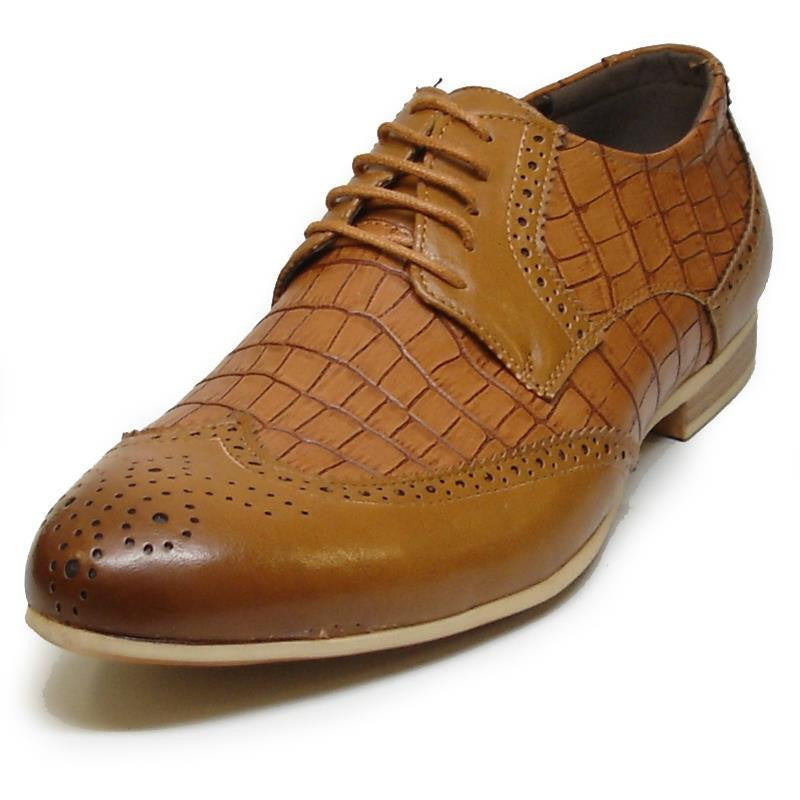 Fiesso Men's Brown PU Faux Leather Wingtip Croco Print Dress Shoes