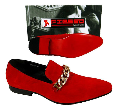 Men's New Fashion Fiesso Suede Red Slip on Shoes FI 6788
