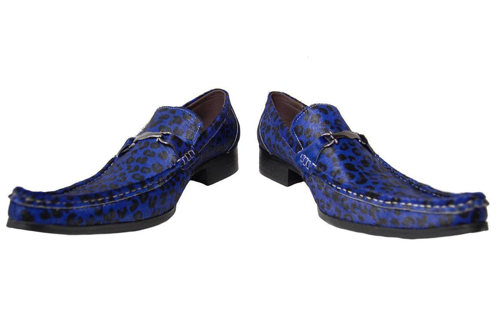 New Fiesso Blue/Black Pony Hair Shoes FI 6649