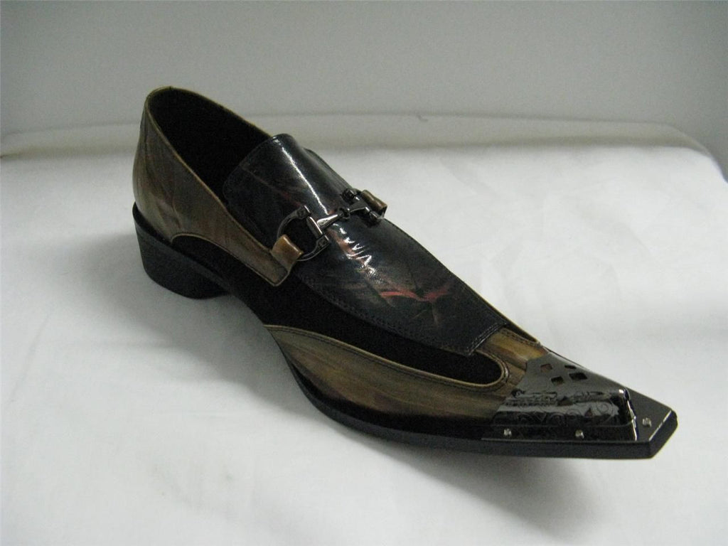 New Fiesso Brown Pointed Metal Toe Shoes FI 6652