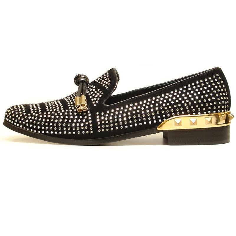 Fiesso Black Suede With Clear Crystal Rhinestone Slip-on Shoes FI 6958