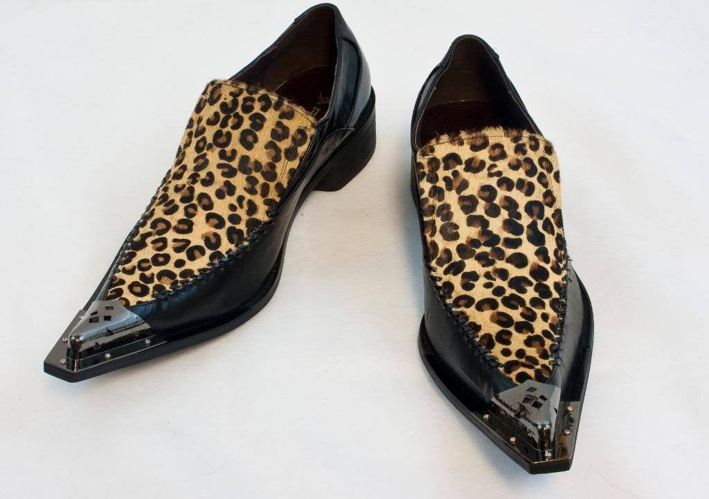 New Fiesso Dress Shoes Black/Leopard FI 6650