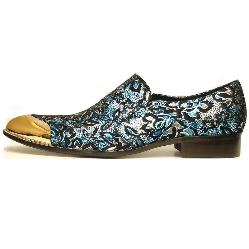 Men's Fiesso Suede Leather Blue Foil Floral Printed Shoes FI 7018