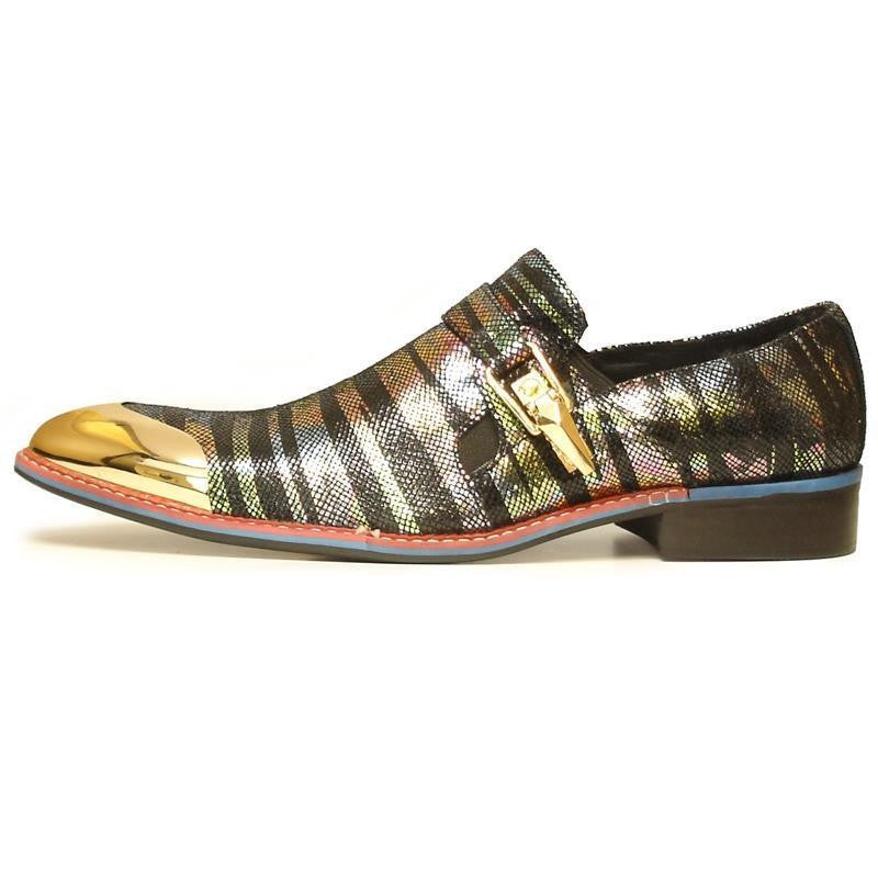 Men's Fiesso Shiny Multi Leather Print Shoes FI 7001-2