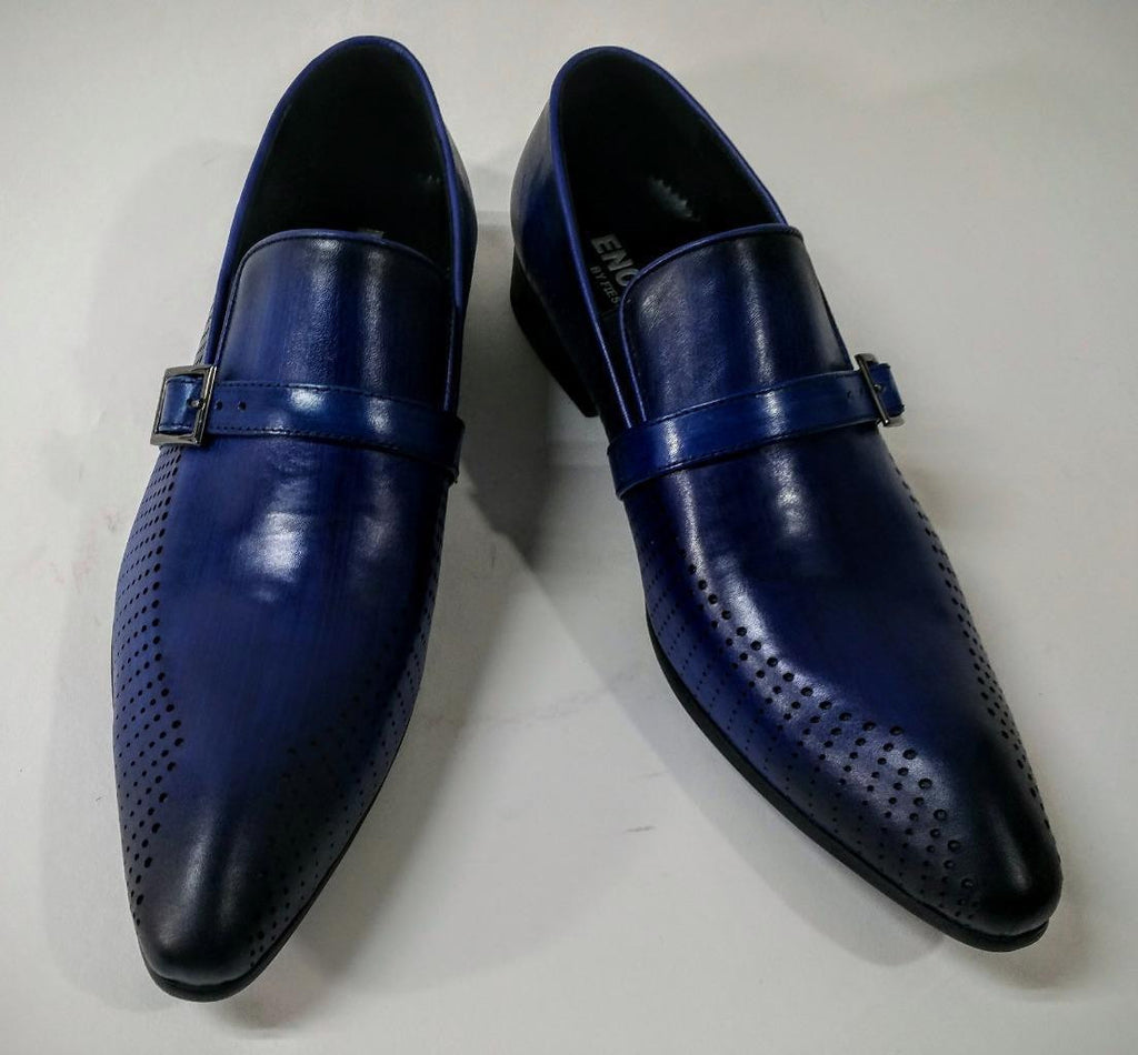 New Encore Blue Pointed Toe Leather Slip on Dress Shoes FI 6924