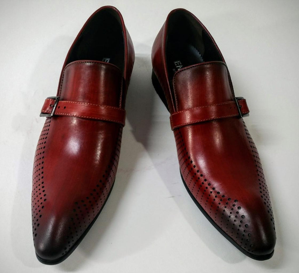 New Encore Burgundy Pointed Toe Leather Slip on Dress Shoes FI 6924