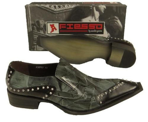 New Men's Fiesso Green Patent Leather Shoes FI 6757