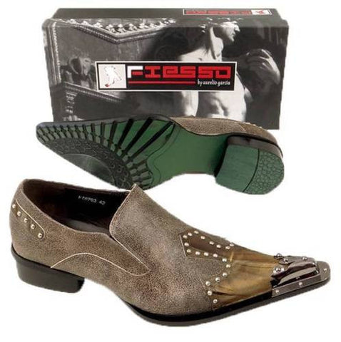 New Fiesso Coffee Pointed Toe Shoes FI 6763