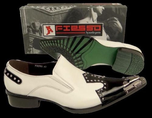 New Fiesso White/Black Dress Shoes FI 6763