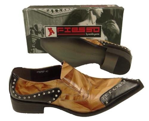 New Fiesso Black Brown Patent Leather Metal Tip Shoes FI 6757