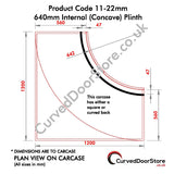 RW11-22 mm 640 Internal (Concave) Plinth - Single - Curved door store .co.uk