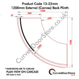 RW13-22 mm 1200 External (Convex) Plinth - Please Nb:  All Prices + VAT + Delivery where applicable