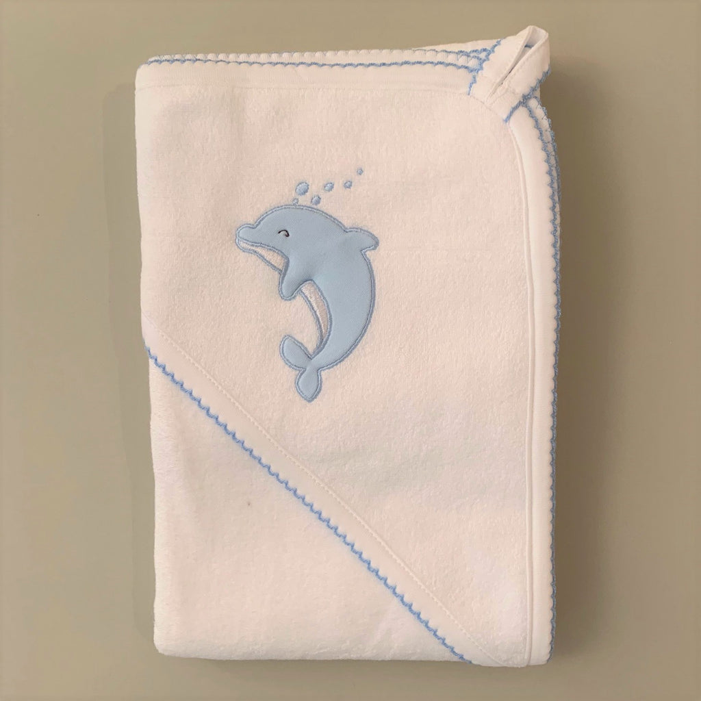 Blue Dolphin Hooded Baby Towel and Washcloth