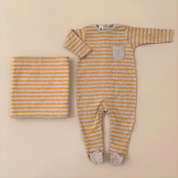 Mustard and Gray Stripped Footie and Blanket Set