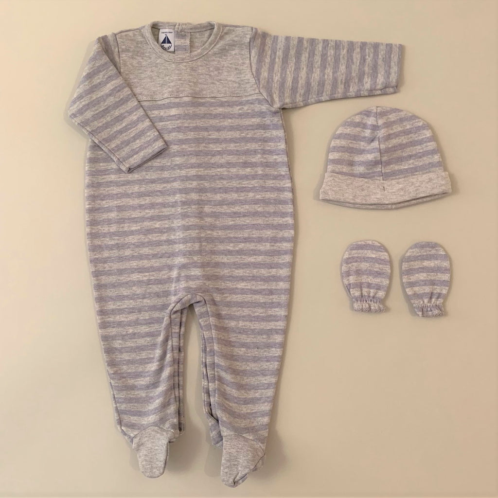 Blue and Gray Stripped Footie Romper Set