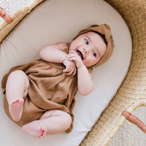 Organic Copper Ribbed Knit Tank Dress, Bloomer and Turban Set