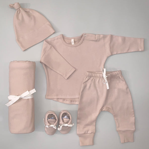 100% Organic Cotton Rose Longsleeve Tee, Drawstring Pant, Knotted Hat, Swaddle and Baby Booties Set
