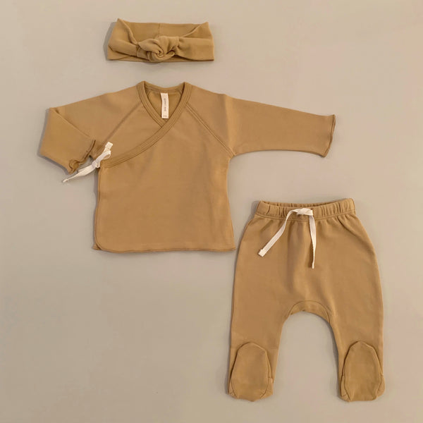 100% Organic Cotton Honey Kimono Top and Footed Pant Set