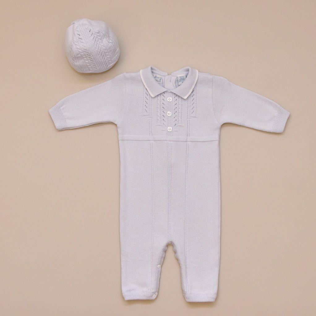 100% Cotton Baby Blue Boy Sweater Knit Romper with Hat