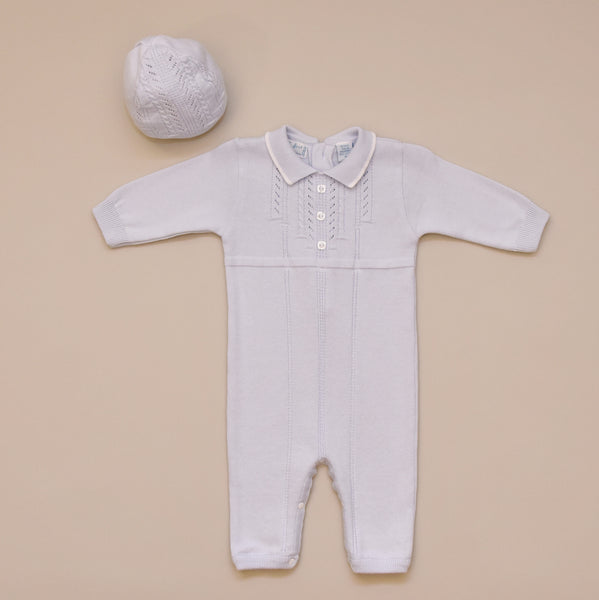 1ba51b980a6 100% Cotton Baby Blue Boy Sweater Knit Romper with Hat Quick shop. FELTMAN  BROTHERS