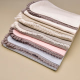 100% Cotton Baby Blanket with Lace Border