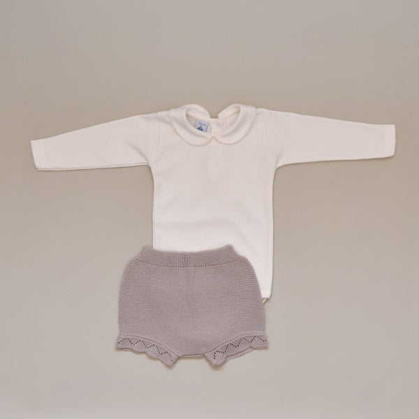 Baby Two Piece Knit Set with 100% Cotton Ivory Crochet Collar and Cuff Onesie and Beige Knit Shorts