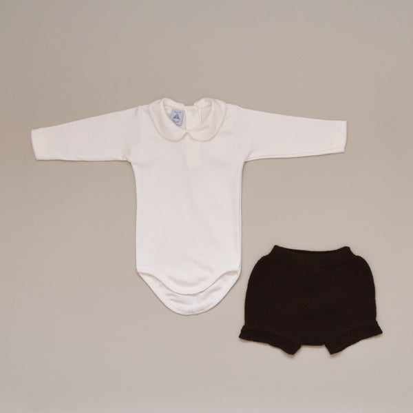 Baby Two Piece Knit Set with 100% Cotton Ivory Crochet Collar Onesie with Chocolate Knit Shorts