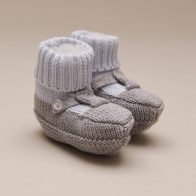 Blue and Gray Knit Mocked Booties