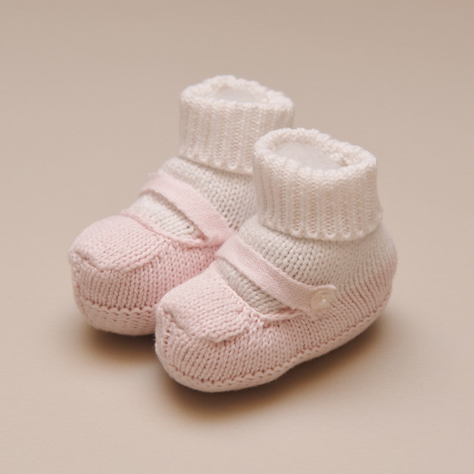 Pink and White Knit Mocked Booties