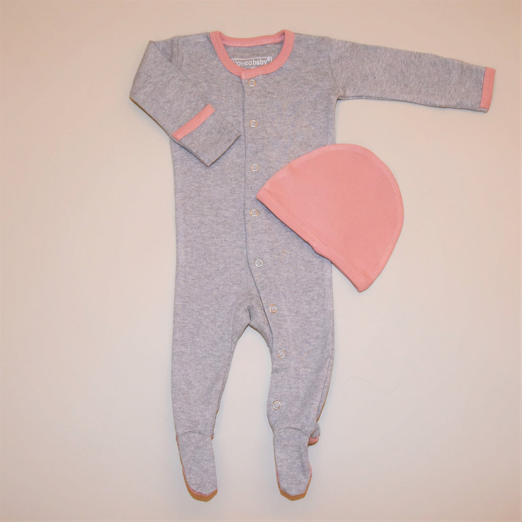 Heather Gray and Pink Organic Cotton Footed Overall and Cap